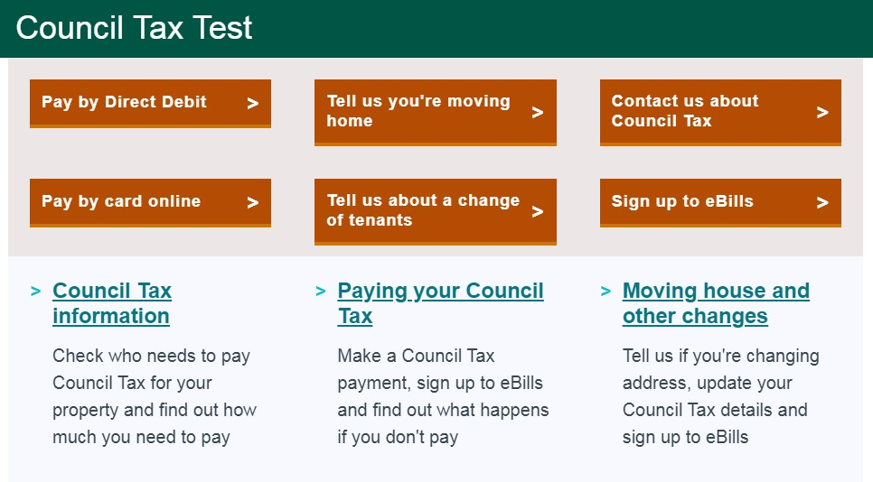 Image of redesigned council tax page